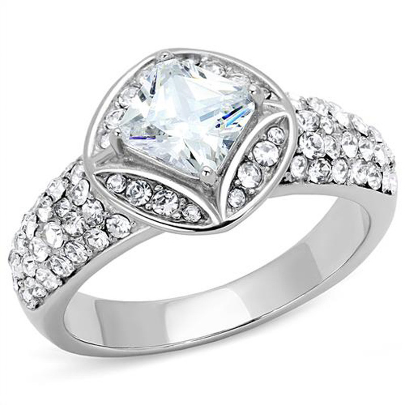 Women's 1.96 Ct Princess Cut Zirconia Stainless Steel Engagement Ring Size 5-10