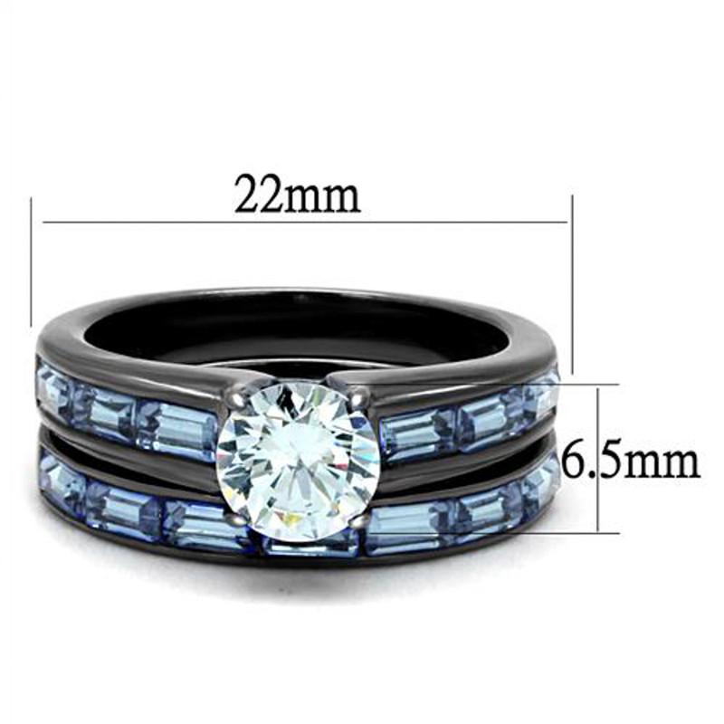 ARTK2845 2.85Ct Clear & Sea Blue Cz Gray Stainless Steel Wedding Ring Set Women's Sz 5-10