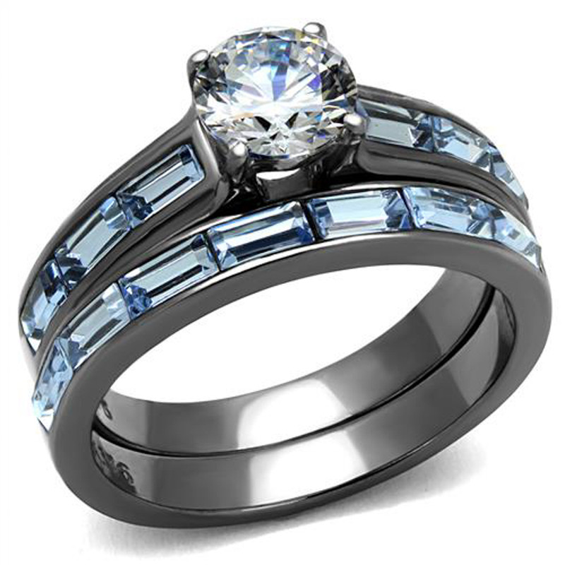 2.85Ct Clear & Sea Blue Cz Gray Stainless Steel Wedding Ring Set Women's Sz 5-10