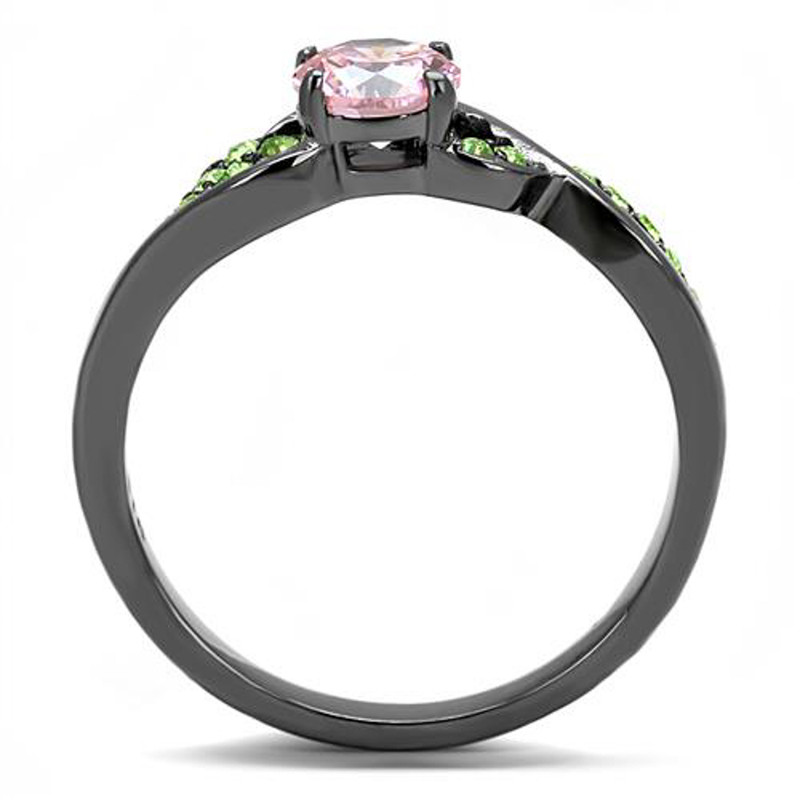 ARTK3132 Rose & Green Round Cut Zirconia Gray Stainless Steel Fashion Ring Womens Sz 5-10