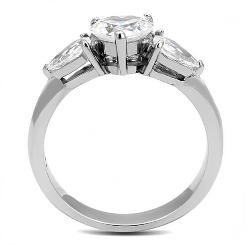 ARTK3138 1.91 Ct Heart & Pear Shape Cz Stainless Steel Engagement Ring Women's Size 5-10