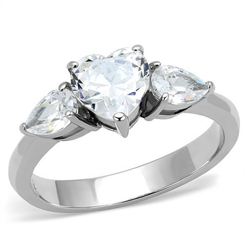 1.91 Ct Heart & Pear Shape Cz Stainless Steel Engagement Ring Women's Size 5-10