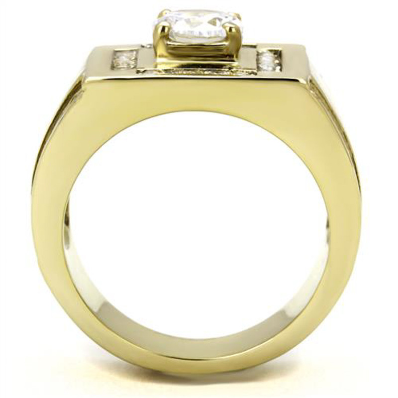 ARTK3079 Men's 1.8 Ct Round Cut Cz 14K Gold Plated Stainless Steel Fashion Ring Size 8-13