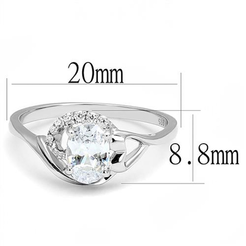 AR3W1388  Women's .77 Ct Oval Cut Cz .925 Sterling Silver Rhodium Plated Engagement Ring