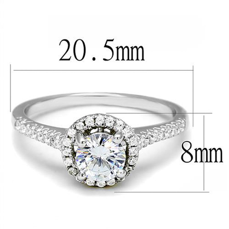 AR3W1386 Women's .75 Ct Round Cz .925 Sterling Silver Rhodium Plated Halo Engagement Ring