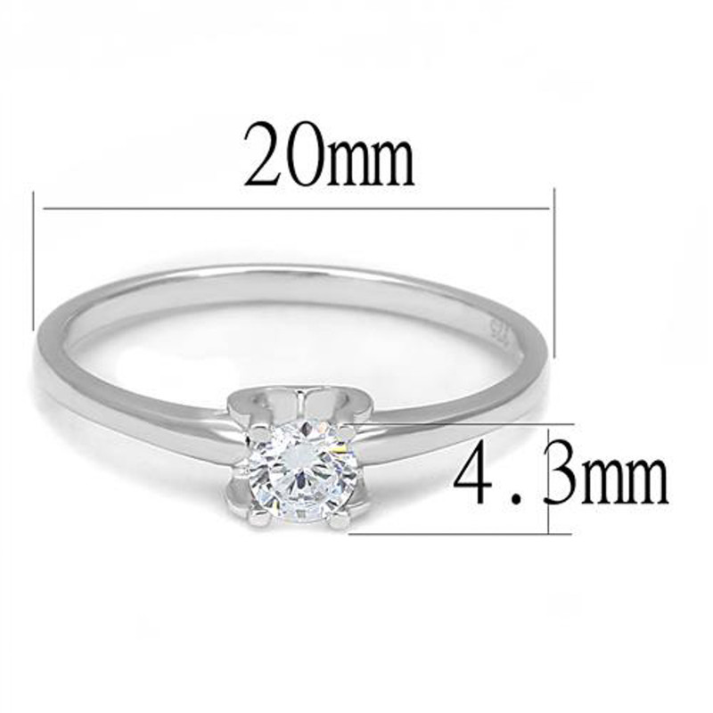 AR3W1385 Women's .25 Ct Round Cut Cz .925 Sterling Silver Rhodium Plated Engagement Ring