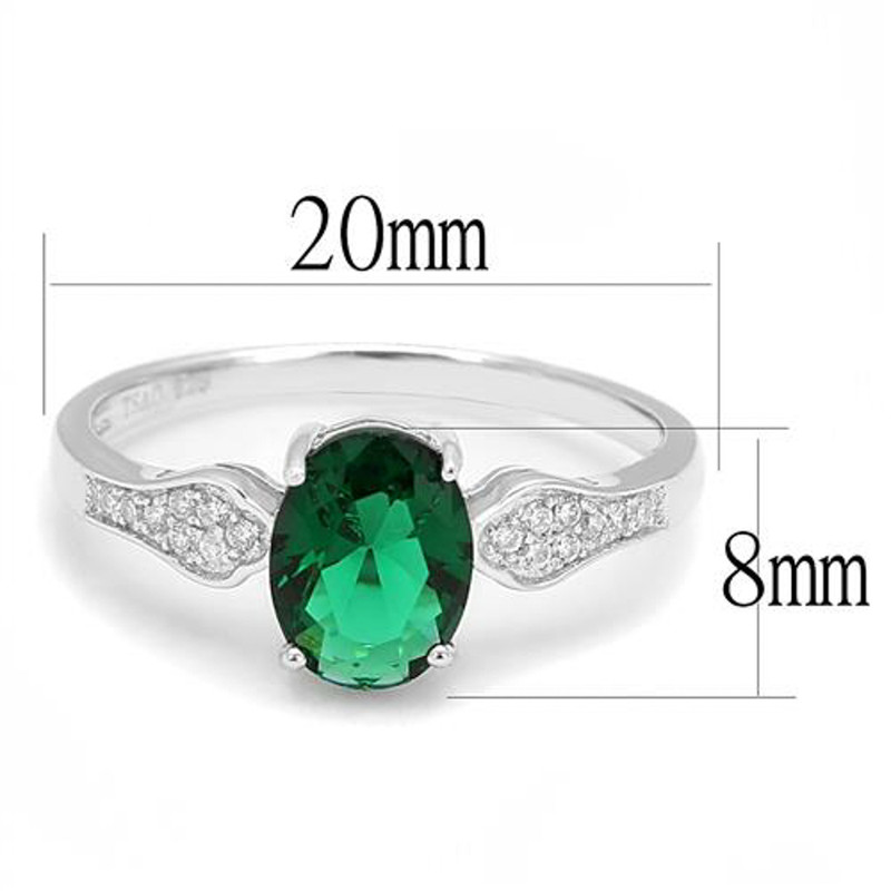 AR3W1387 1.2Ct Oval Cut Emerald Green Cubic Zirconia .925 Sterling Silver Engagement Ring