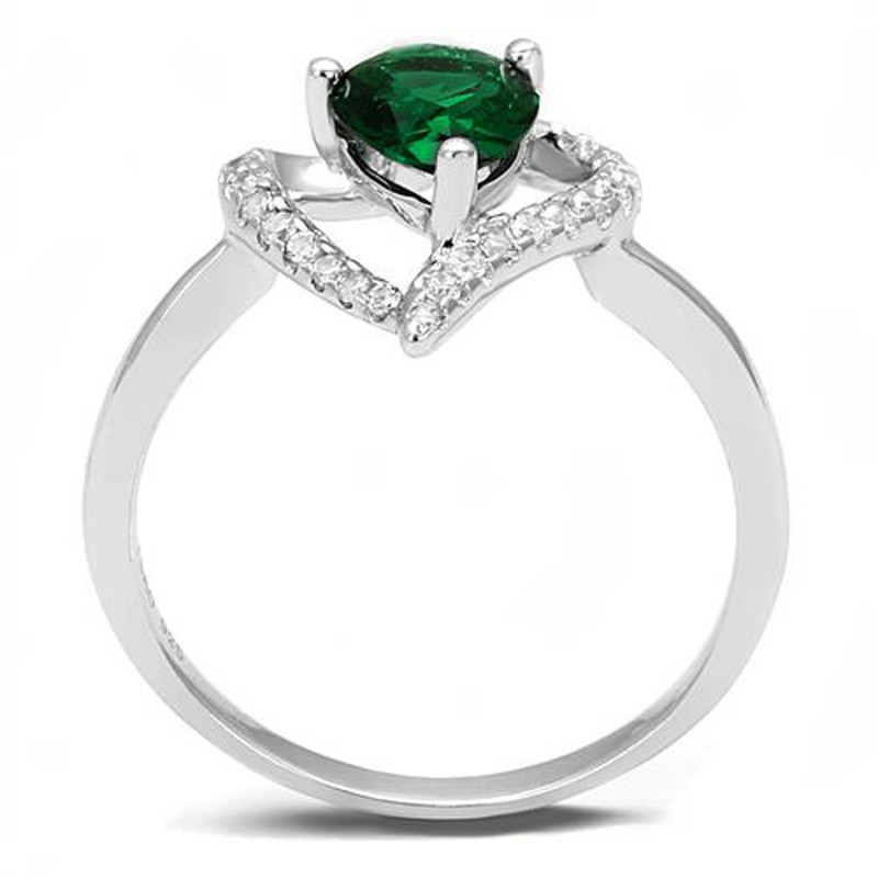 AR3W1384 1.3Ct Pear Cut Emerald Green Cubic Zirconia .925 Sterling Silver Engagement Ring