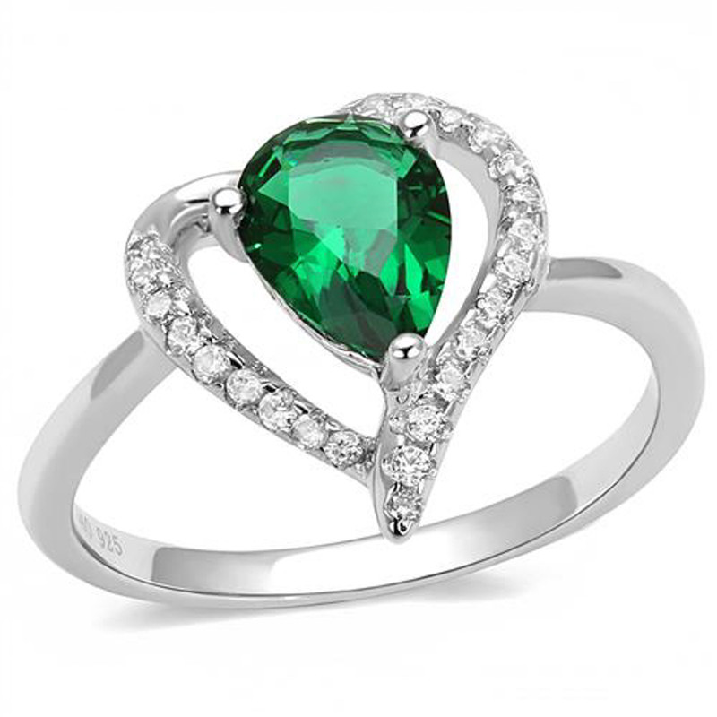 1.3Ct Pear Cut Emerald Green Cubic Zirconia .925 Sterling Silver Engagement Ring