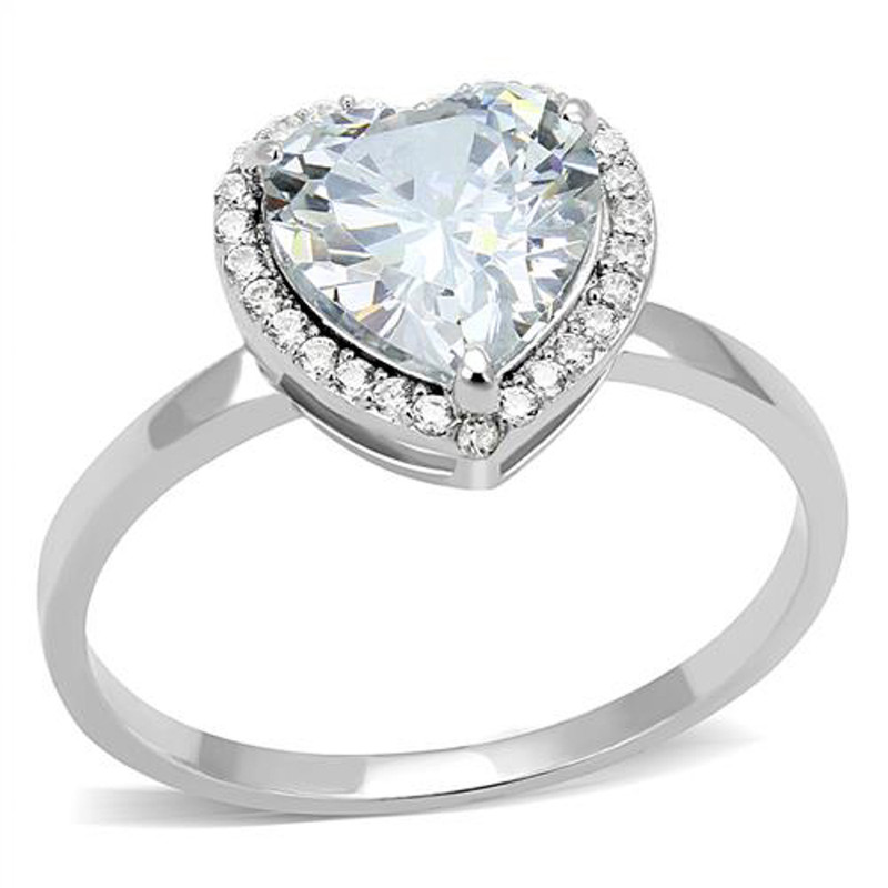 ARTS603 Women's 1.79 Ct Heart Cut Cz .925 Sterling Silver Rhodium Plated Engagement Ring