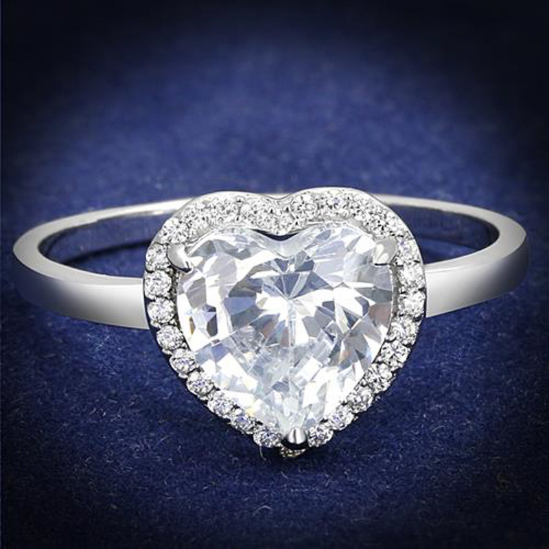 Women's 1.79 Ct Heart Cut Cz .925 Sterling Silver Rhodium Plated Engagement Ring