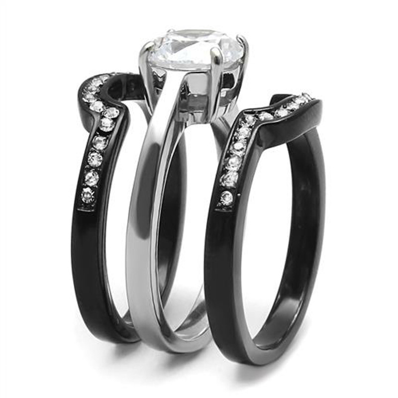 ARTK3214 Women's 2.25 Ct Round Cut Cz Black Stainless Steel Wedding Ring Set Size 5-11