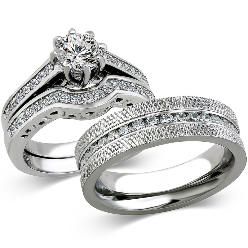 ST1330-ARCJSS485 His & Hers Stainless Steel 1.85 Ct Cz Bridal Set & Men's Eternity Wedding Band