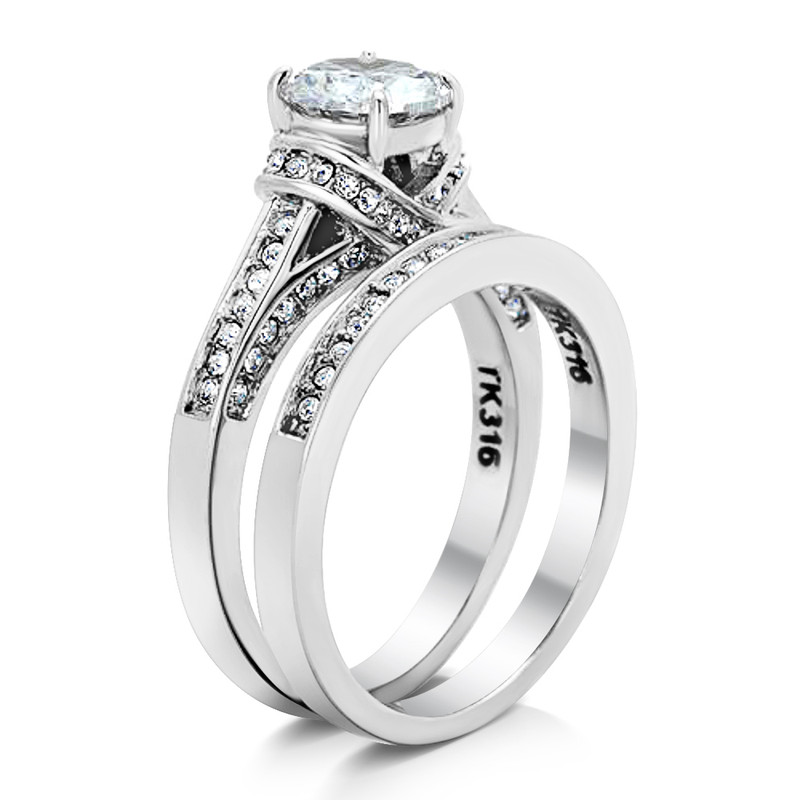 ST1919-ARCJSS485 His & Hers Stainless Steel 3 Piece Cz Wedding Ring Set and Eternity Wedding Band