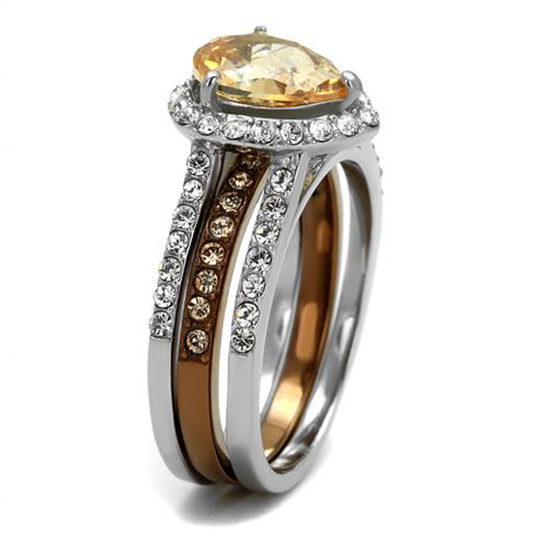 ST2961-ARCJTI486 His & Her 3pc Stainless Steel 2.08 Ct Cz Bridal Set & Mens Titanium Wedding Band