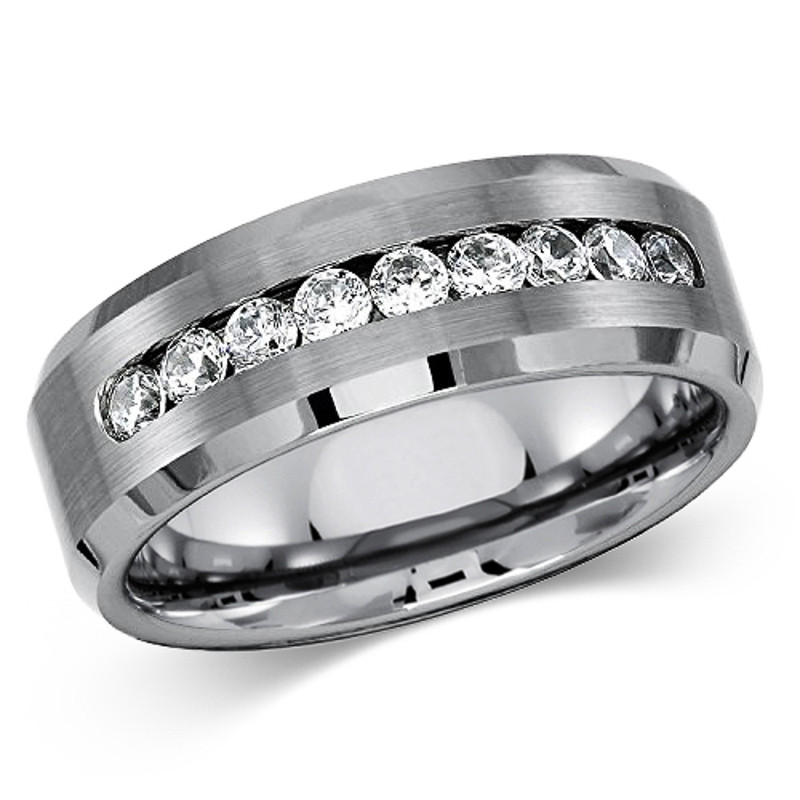 ST1829-ARCJTI486 His & Her 3pc Stainless Steel 2.60 Ct Cz Bridal Set & Mens Titanium Wedding Band