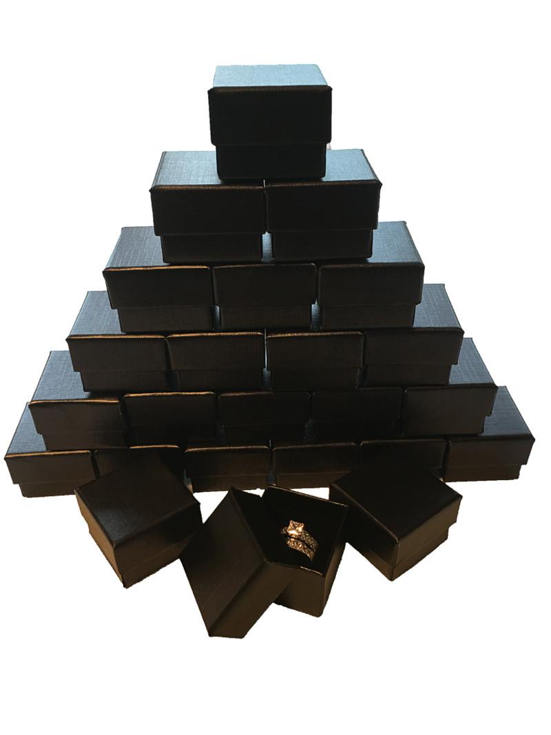 Wholesale Pack of Black Ring Gift Box with Foam and Velvet Insert