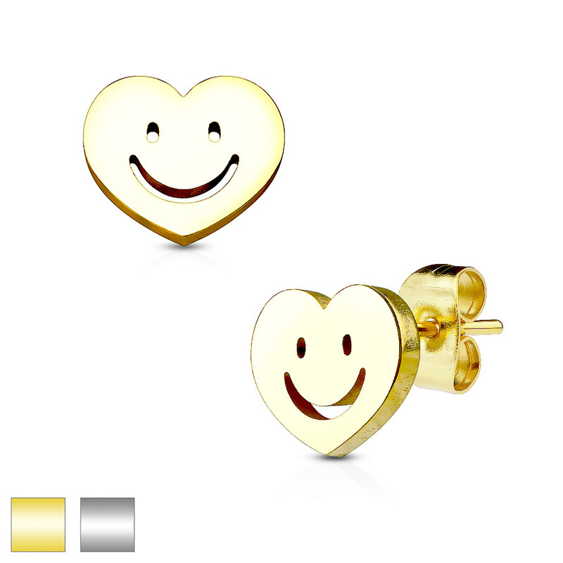 MJ-SE2413 Heart with Smile 316L Stainless Steel Earring Studs Pair