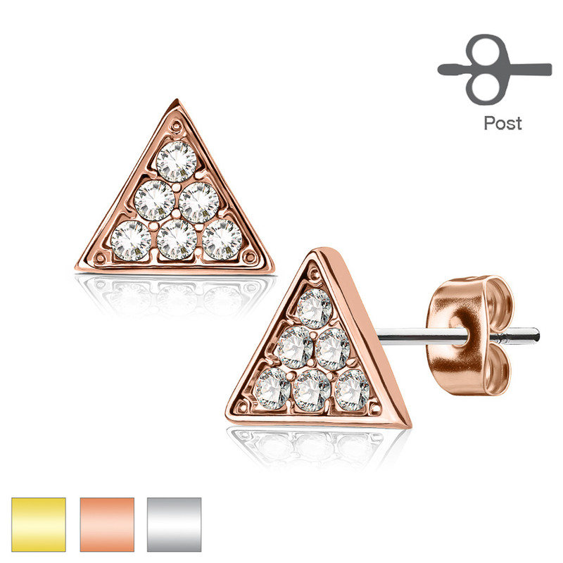 MJ-EA-025 Pair of Crystal Paved Triangle 316L Surgical Steel Post Earring Studs