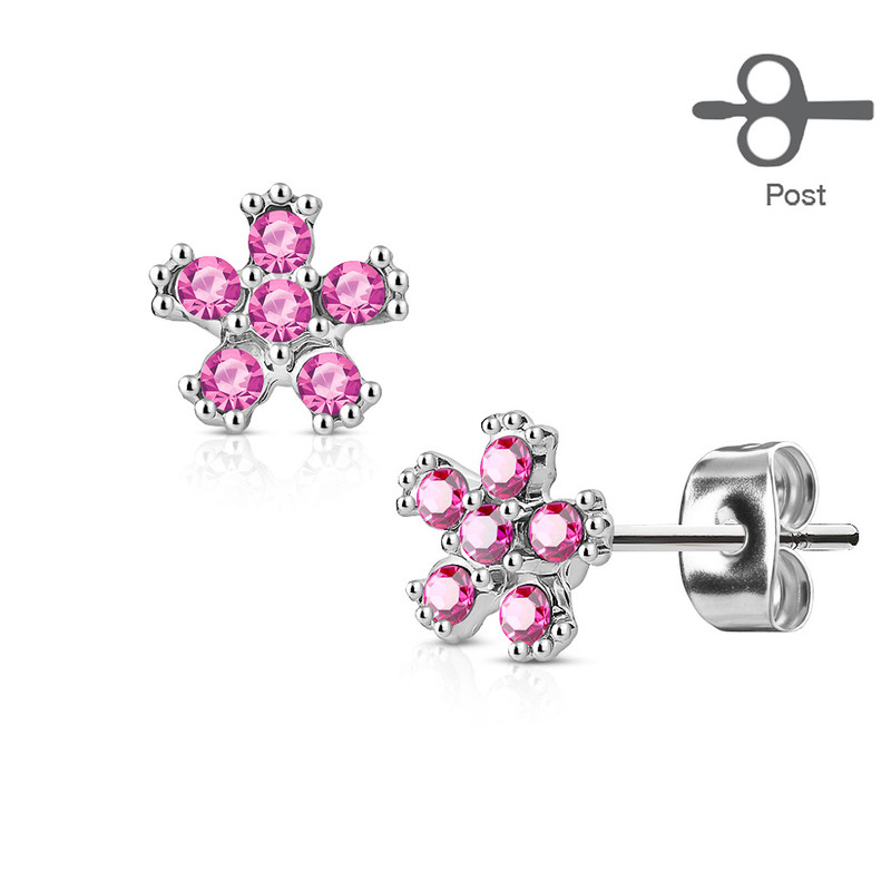 MJ-EA-015 Pair of 6 CZ Flower 316L Surgical Steel Post Earring Studs