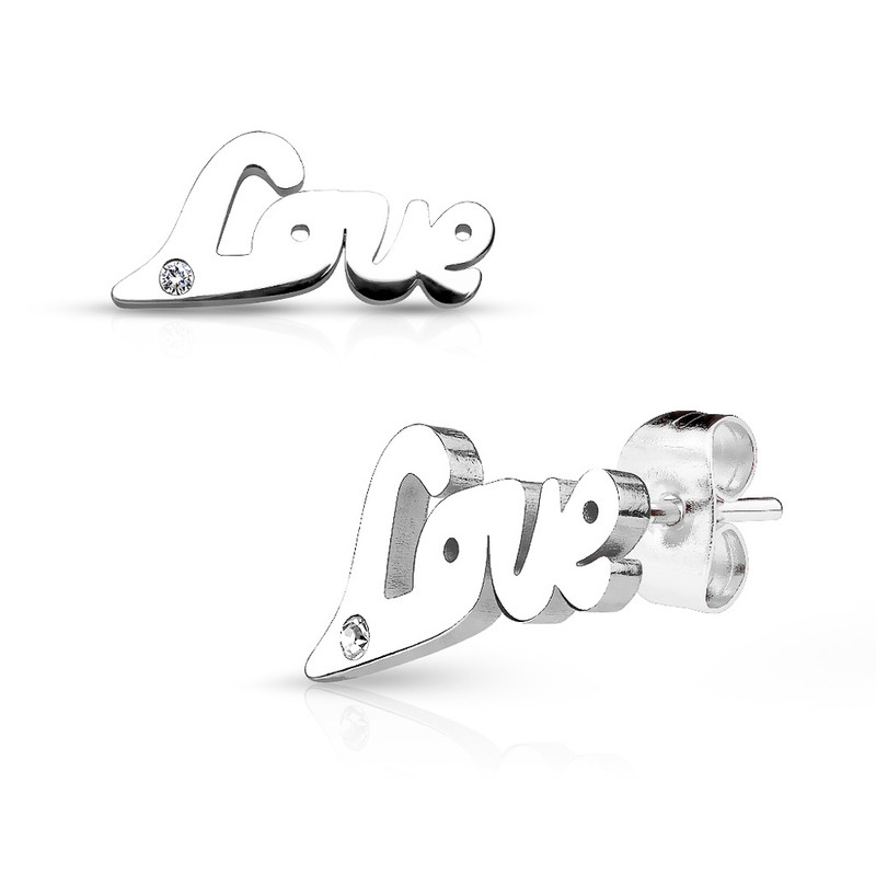 MJ-SE2493 Love with Clear gem 316L Stainless Steel Earring Studs Pair