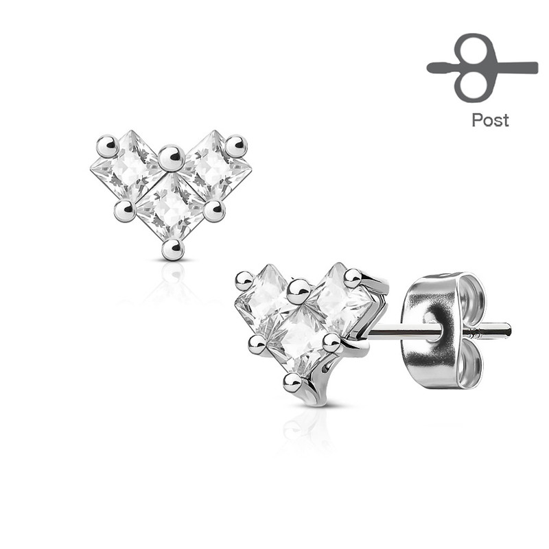 MJ-EA-014 Pair of 3 Square CZ Heart 316L Surgical Steel Post Earring Studs