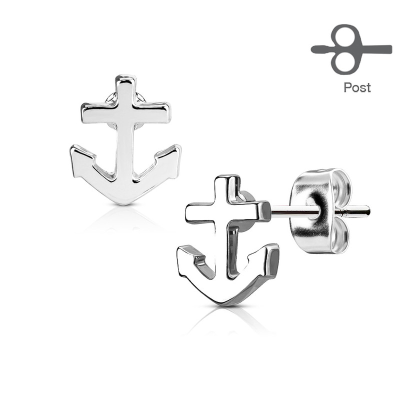 MJ-EA-024 Pair of Anchor 316L Surgical Steel Post Earring Studs