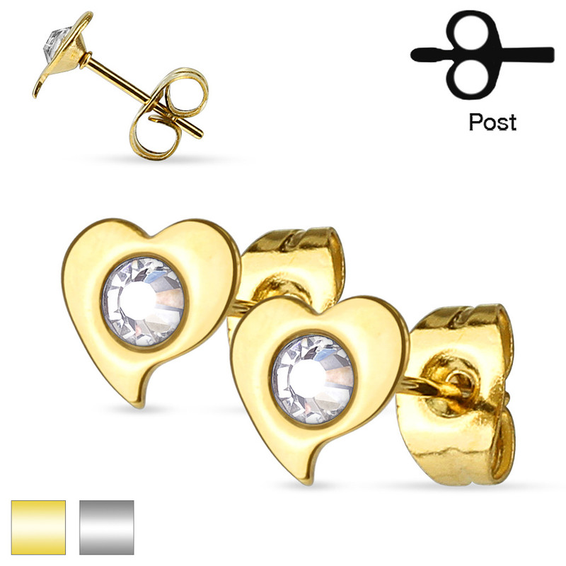 MJ-SE2910 Pair of Crystal Set Heart 316L Surgical Steel Ear Studs