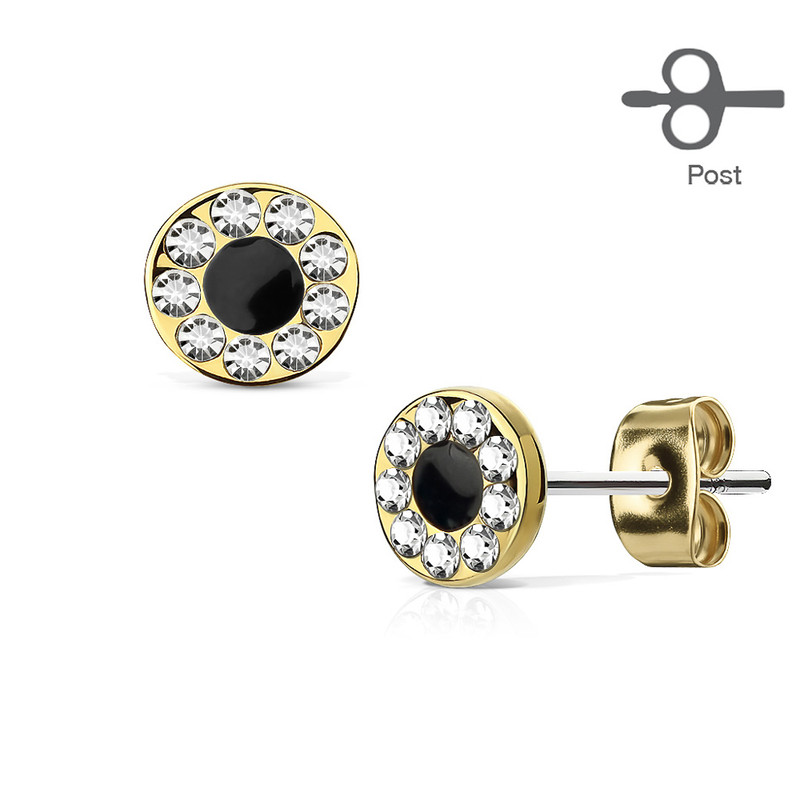 MJ-EA-019 Pair of Channel Set CZ Round with Black Center 316L Surgical Steel Post Earring Studs