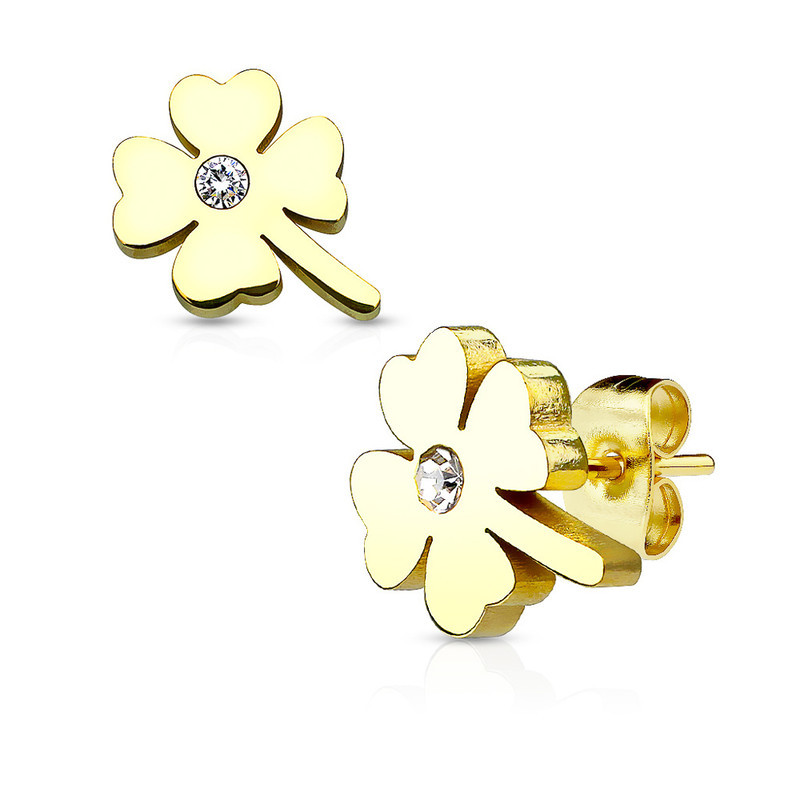 MJ-SE2489 Shamrock with Crystal Center 316L Stainless Steel Earring Studs Pair
