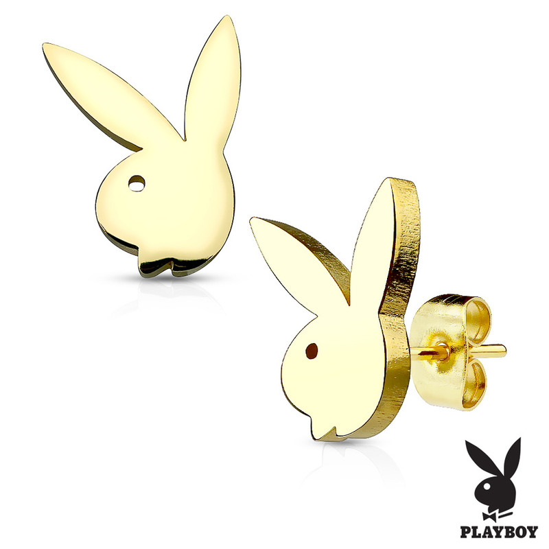 MJ-SE2472 Playboy Bunny 316L Stainless Steel Earring Studs Pair