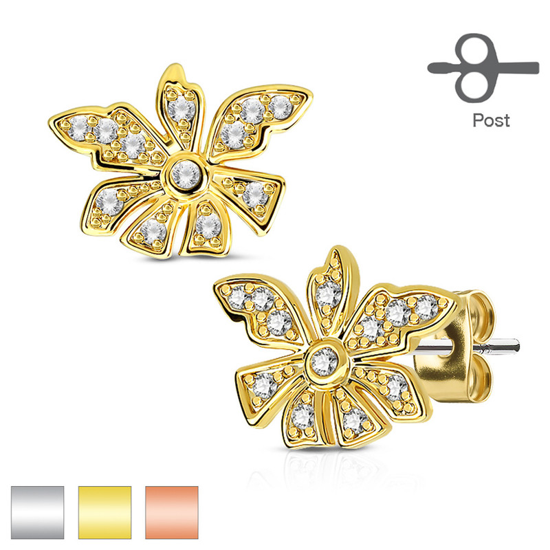 MJ-EA-004 Pair of Micro Pave CZ Flower 316L Surgical Steel Post Earring Studs