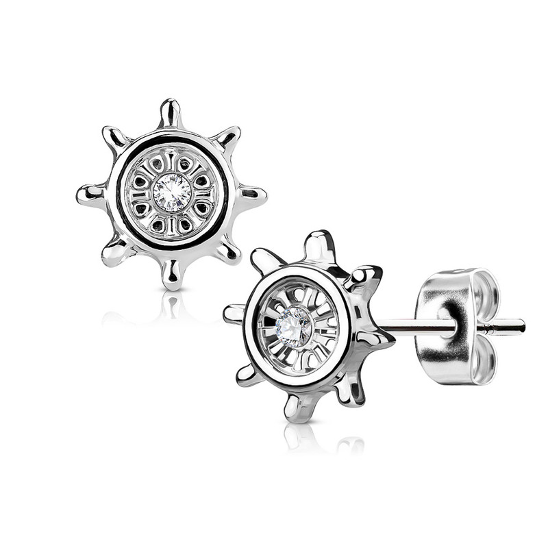MJ-EA-023 Pair of CZ Centered Yacht Wheel 316L Surgical Steel Post Earring Studs