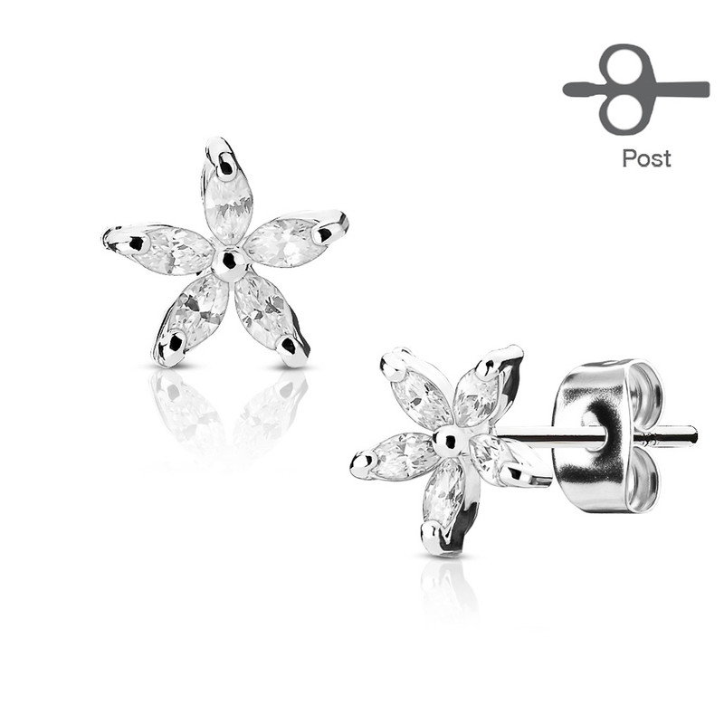 MJ-EA-021 Pair of 5 Marquise CZ Petal Flower 316L Surgical Steel Post Earring Studs
