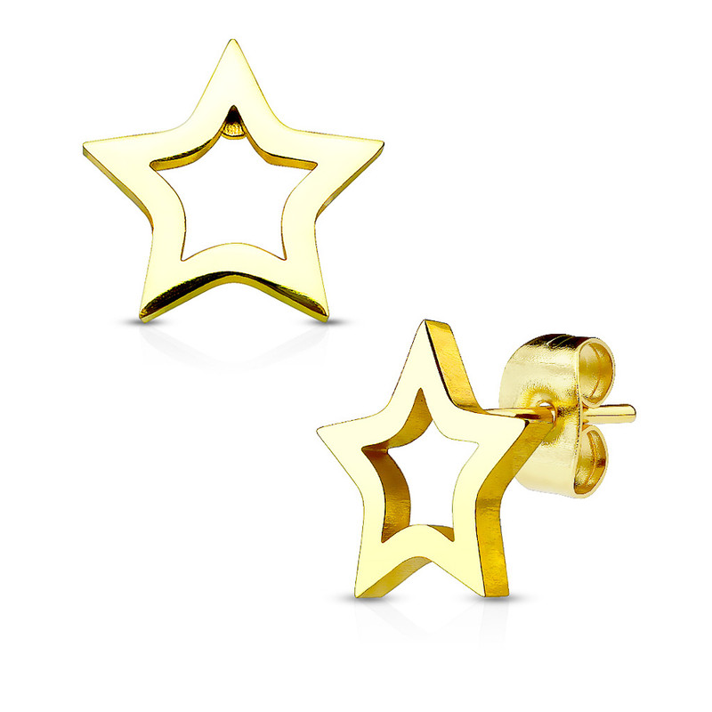 MJ-SE2423 Hollow Star 316L Stainless Steel Earring Studs Pair