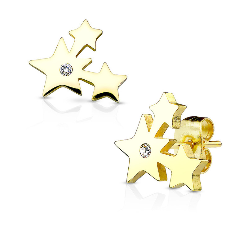 MJ-SE2504 Three Cluster Stars with Crystal 316L Stainless Steel Earring Studs Pair