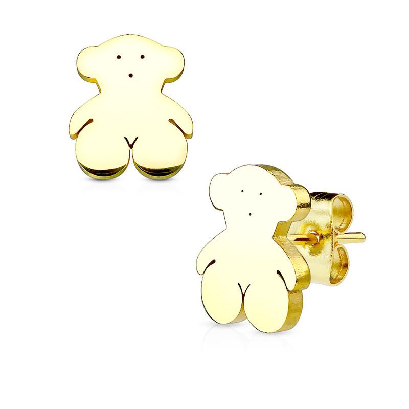 MJ-SE2444 Teddy Bear 316L Stainless Steel Earring Studs Pair