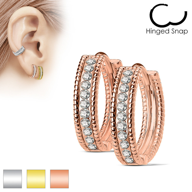 MJ-EB-003 Pair of Beaded Edges Dome Center with Channel Set Lined CZ 316L Surgical Steel Post Hoop Earrings