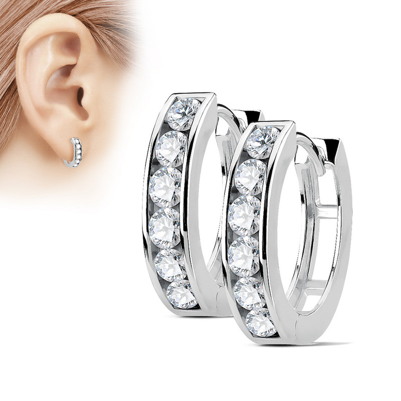 MJ-EB-004 Pair of Channel Set Lined CZ 316L Surgical Steel Post Hoop Earrings