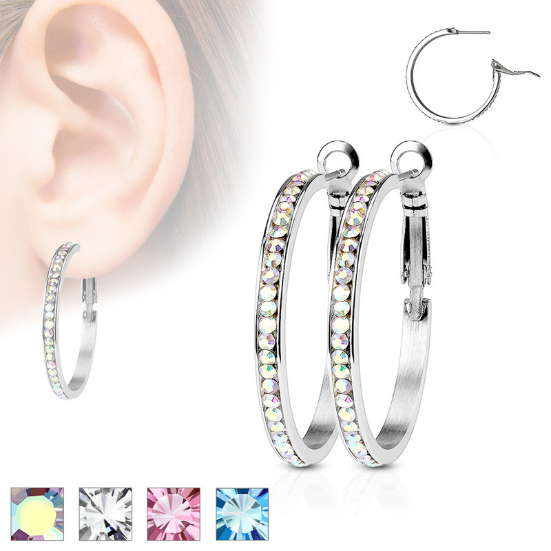 MJ-SE3361 Pair of Eternity Crystal Set Stainless Steel Hoop Earring