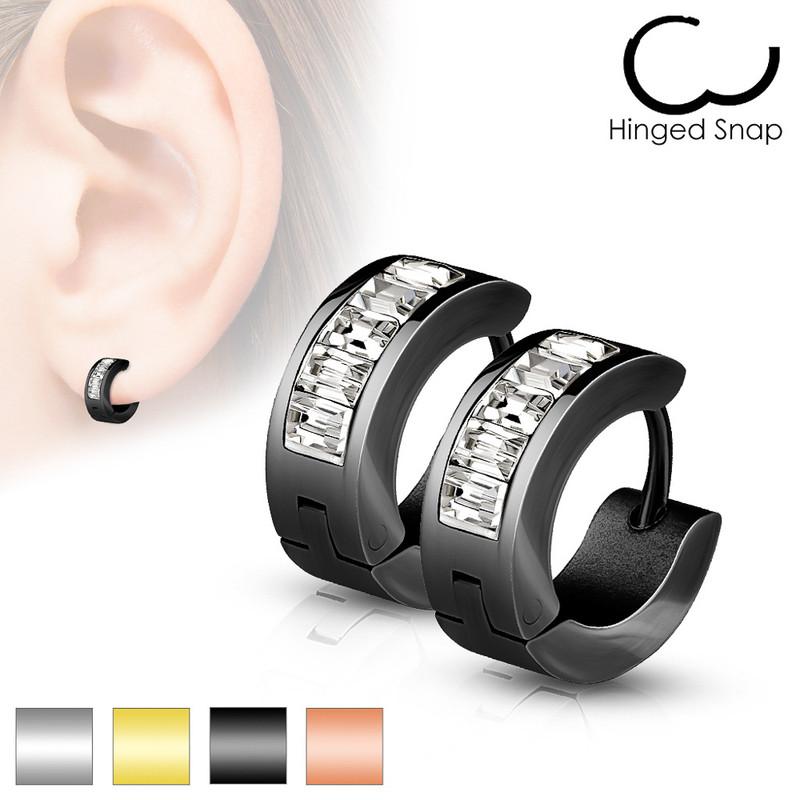 MJ-SE7078 Pair of Lined Square Gems Set Front Stainless Steel Hoop/Huggie Earrings