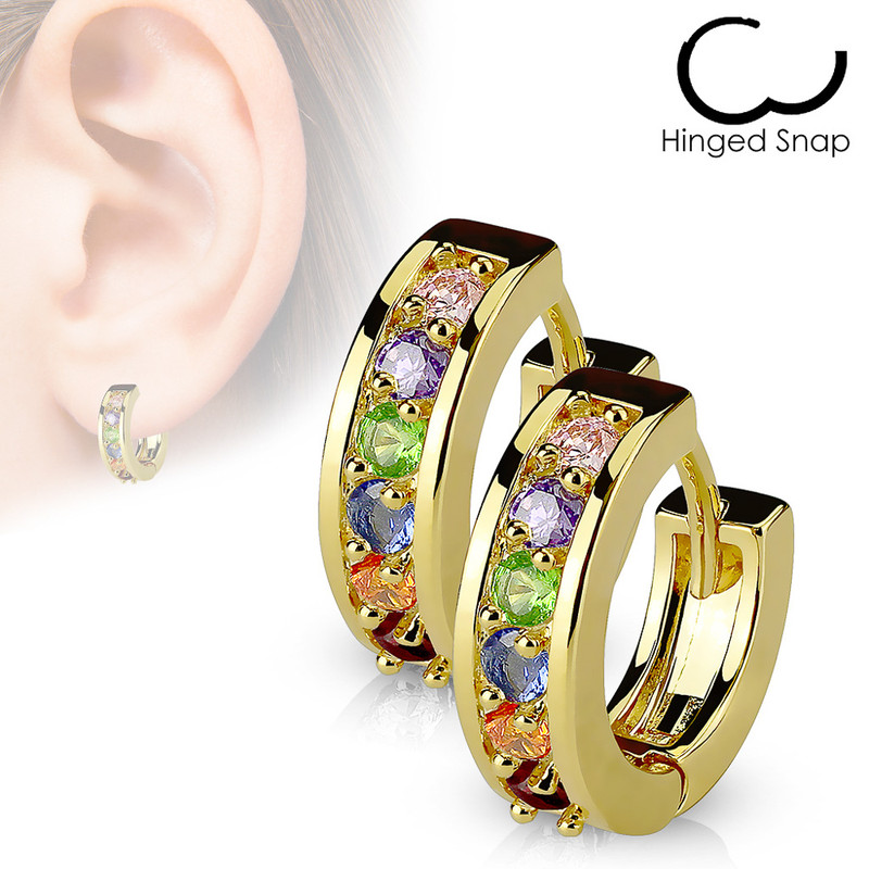 MJ-EB-001 Pair of Paved CZ Gold Plated Over 316L Surgical Steel Post Earrings