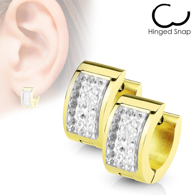 MJ-SE7079 Square Crystal Paved IP Gold over Stainless Steel Hoop Huggie Earring