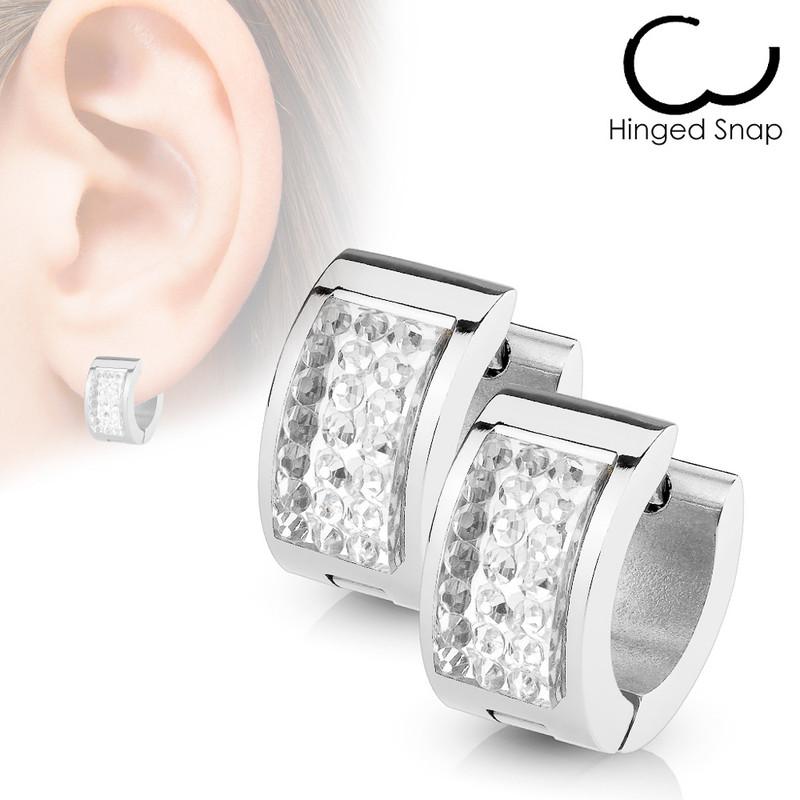 MJ-SE7077 Pair of Square Crystal Set Stainless Steel Hoop/Huggie Earrings