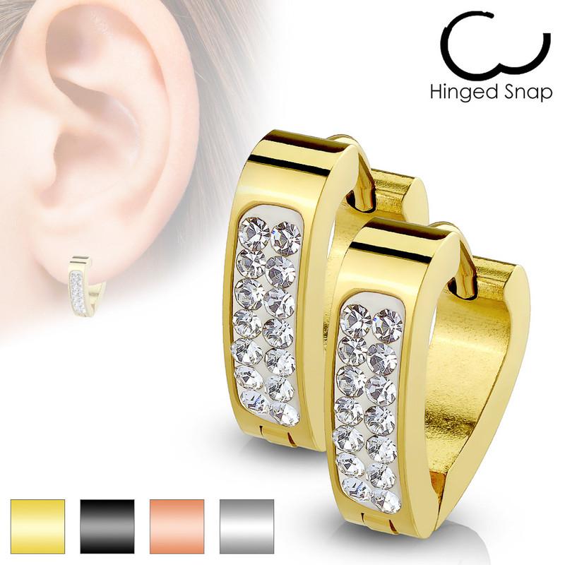 MJ-SE7087 Pair of Clear Crystal Paved Triangle Shape Stainless Steel Hoop/Huggie Earrings