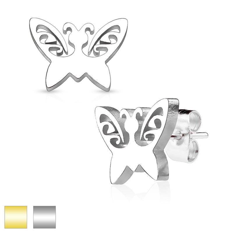 MJ-SE2458 Butterfly 316L Stainless Steel Earring Studs Pair