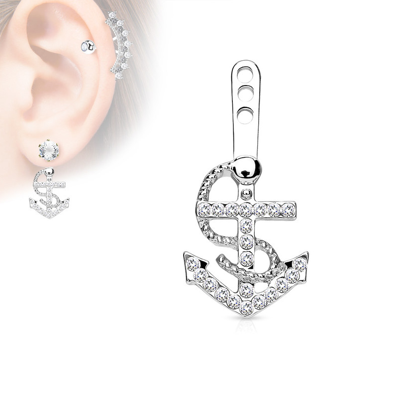 MJ-ED-042 Gem Paved Anchor Earring Jacket / Cartilage Stud Add on Dangle