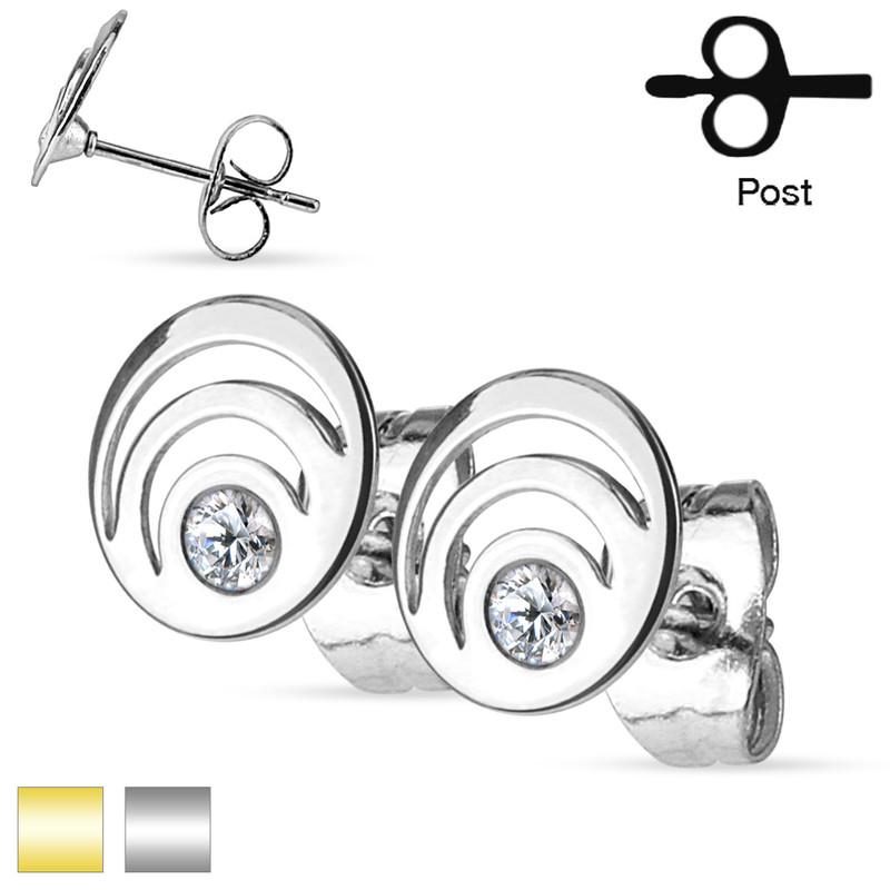 MJ-SE2909 Pair of Crystal Set Triple Loop 316L Surgical Steel Ear Studs