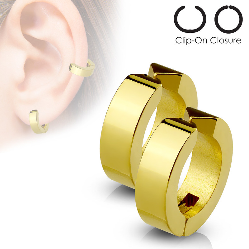 MJ-SFE-13531 Hoops Pair of 316L Surgical Stainless Steel Non-Piercing Ear Cuff Clip On Earrings