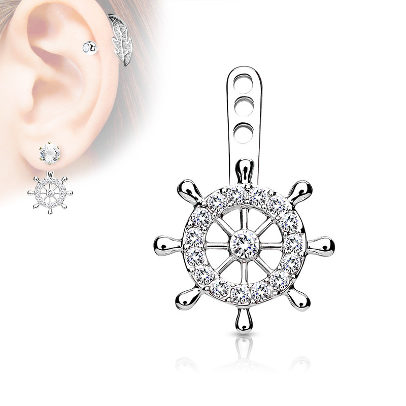 MJ-ED-041 Ship Wheel CZ Paved Helm Earring Jacket / Cartilage Stud Add on Dangle